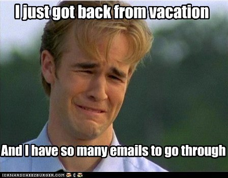 Project manager back from vacation
